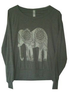 Paisley Elephant Screen Print Top Long Sleeve by UrbanLeafClothing. , via Etsy. Stacey this one for you!