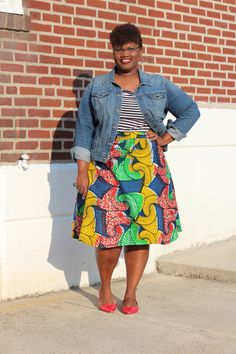 curvy women, curvy, curvy girls, curvy bloggers, african print skirts, plus size skirts, old navy denim, denim jackets, plus size denim, h&m, mixed prints, mixed print outfits, color blocking