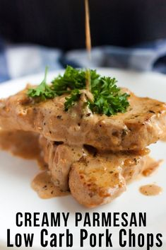 If you are looking for a low carb meal that leaves you satisfied, Creamy Garlic Parmesan Keto Pork Chops is the one to try. You will have a restaurant quality meal in minutes preparing this one skillet keto recipe! Pork Recipes, Keto Recipes, Cooking Recipes, Healthy Recipes, Healthy Foods, Quick Pork Chop Recipes, Healthy Cooking, Healthy Eating, Dining