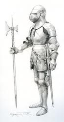 English knight c.1434, based on the tomb effigy of John Fitzalan, Earl of Arundel, in the Fitzalan Chapel, Arundel. It exhibits many characteristics of English armour from this period, such as the great bascinet helmet and deep fauld protecting the loins with small tassets suspended from the lowest lame. (Graham Turner, 2012)