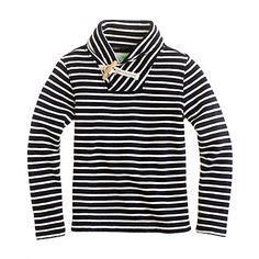 Boys' shawl-collar terry popover in nautical stripe