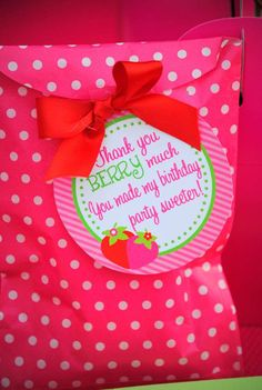 party favor tags STRAWBERRY Birthday Party Ideas | Photo 8 of 114