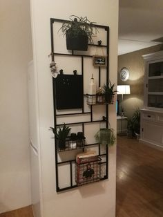 a beautiful fabrique-style closet to hang up little stuff like plants! a beautiful fabrique-style closet to hang up little stuff like plants! Wall Shelving Units, House Entrance, Living Room Grey, Cool Rooms, Living Room Designs, New Homes, Room Decor, House Design, Nordic Chic
