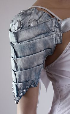 Silver  metallic armor styled blue shoulder by pinkabsinthe, $49.00