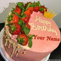 Fruity Strawberry Birthday Wishes Cake With Name Online Editing