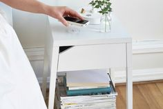 Wirelessy charge your phone by placing it on top of IKEA's Selje nightstand.