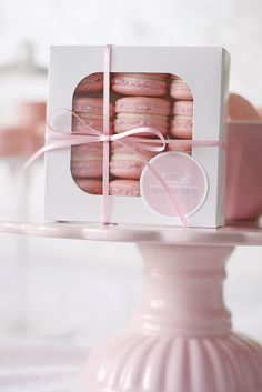 Pretty in Pink macarons and dessert stand