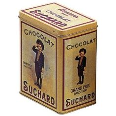 FRENCH VINTAGE DECORATIVE METAL BOX 12x8x15cm RETRO AD SUCHARD CHOCOLATE BOY