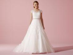 Opulentes Tüllspitzen-Brautkleid in A-Linie mit lllusions-Ausschnitt und Flügelärmeln