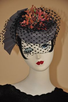1940s Blue/Grey pillbox hat with pink flowers and Navy Veiling