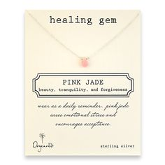 healing gem pink jade necklace; wear as a daily reminder.  Pink jade eases emotional stress and encourages acceptance.