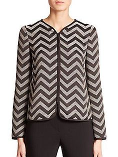 Armani Collezioni Herringbone Jacket - Black- - Size 14