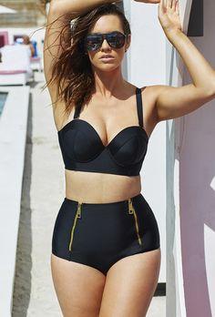1e418078176f5 GabiFresh Black Underwire Mid-Waist Bikini