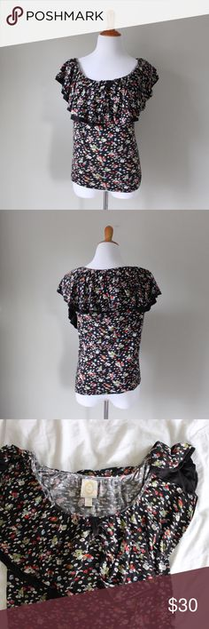 Anthropologie Floral Print Ruffle Blouse Anthropologie brand Ric Rac fluttered blouse with floral print. Provides stretch.  Fits true to size.  Shown on a size 4/6 mannequin.  In gently used condition, no flaws.  Measurements available upon request All orders shipped same or next business day! Anthropologie Tops Blouses