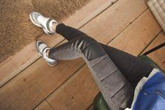 GUMZZI - Faux-Leather Panel Padded Pants #pants #fauxleatherpants #panelpaddedpants