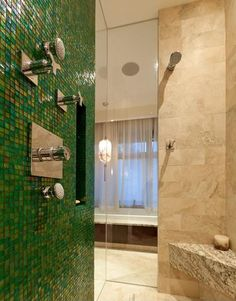 Shower tile colors only - emerald green and beige