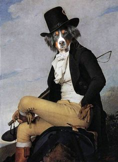 Pyrenean Shepherd in rider by Daniel Trammer, original painting. Anthropomorphic dog.
