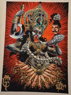 Kali print painted by Peter lagergren printed on fine art paper Indian Goddess Kali, Goddess Art, Durga Goddess, Indian Gods, Kali Tattoo, Backpiece Tattoo, Tattoo Ink, Sleeve Tattoos, Ganesha Tattoo