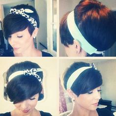 Dark fringe with a headband. Cute