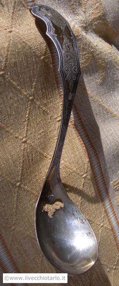 Antico cucchiaio da servizio in argento 833 epoca 800 da foglie di te/mostarda/zollette zucchero 1865