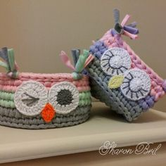 Crochet Owl Basket, Crochet Bowl, Knit Basket, Love Crochet, Crochet For Kids, Crochet Crafts, Yarn Crafts, Crochet Projects, Crochet Turban