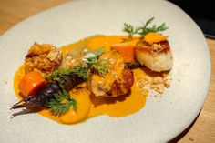 Scallop - Carrot, Vadouvan Curry, Coconut, Barrel-Aged Fish Sauce. 71Above, Los Angeles.