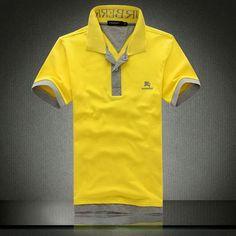 cheap ralph lauren Burberry Collar Short Sleeve Men's Polo Shirt Yellow Grey http://www.poloshirtoutlet.us/