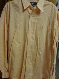 $24.99 RALPH LAUREN Polo Mens Button Front Shirt 34 35 Peach YARMOUTH 15.5 Long Sleeve