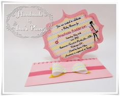 Ina's Place Invitations & Party Supplies: Invitación Baby Shower - Colorful Chevrons & Big Bow.