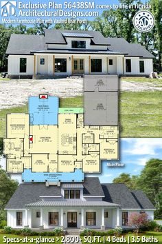 House Plan 56438SM gives you 2,800+ square feet of living space with 4 bedrooms and 3.5 baths. AD House Plan #56438SM #adhouseplans #architecturaldesigns #houseplans #homeplans #floorplans #homeplan #floorplan #houseplan New House Plans, Dream House Plans, Modern House Plans, House Floor Plans, My Dream Home, Built In Lockers, Modern Farmhouse Plans, Traditional Exterior, Cabin Plans