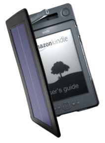 Solar-powered Kindle cover with a reserve battery and LED reading lamp. Pro.