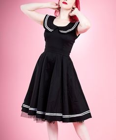 Black & White Sailor Fit & Flare Dress - Women | zulily. I love this dress!!!!!!!!!!!!!!!!!!!!!!!!!!!!!!!!!!!