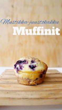 Heavenly bakings: Mustikka-juustokakkumuffinit Sweet Desserts, Dessert Recipes, Brownie Cupcakes, Sweet Tooth, Deserts, Food And Drink, Cooking Recipes, Yummy Food, Favorite Recipes