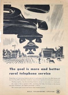 Bell Telephone System Ad, Flying Phones, for Rural Service and Farms, Vintage 1940s Farmer's Journal Magazine Advertisement. $6.00, via Etsy.