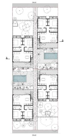 Studio Arquitectos has created a residential apartment complex in Mexican holiday resort Tulum, featuring shared courtyards and traditional Mayan materials. Apartment Layout, Apartment Plans, Architecture Plan, Residential Architecture, Plan Ville, Hotel Floor Plan, Architectural Floor Plans, Villa Plan, Courtyard Design