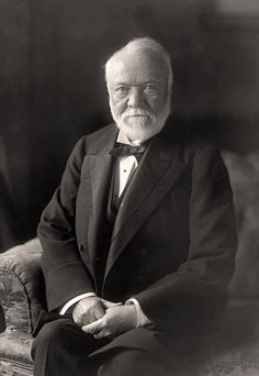 "Andrew Carnegie, 1835-1919.  Born in Scotland, emigrated to the United States with his parents in 1848. His first job in the U S was as a factory worker in a bobbin factory. Carnegie gave most of his money to establish  libraries, schools, and universities in the United States, the United Kingdom, Canada and other countries, as well as a pension fund for former employees. Earned most of his fortune in the steel industry. His life was a true ""rags to riches"" story."