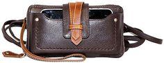 Nino Bossi Handbags Waxed Classico Leather Crisscross Phone Holder Wallet - Choc