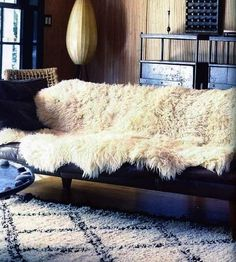 "Sheep Skin rug on Leather couch Approximately $62.12 USD Appx. size 115cm x 75cm or 45"" x 30"" http://www.etsy.com/listing/115054976/extra-large-luxurious-genuine-sheepskin?ref=sr_gallery_5_search_query=icelandic+sheepskin+rug_view_type=gallery_ship_to=US_search_type=all"