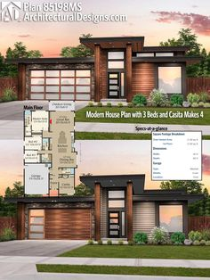 Architectural Designs Modern House Plan 85198MS 4bd/3ba 2,100 square feet || needs a bigger master bathroom