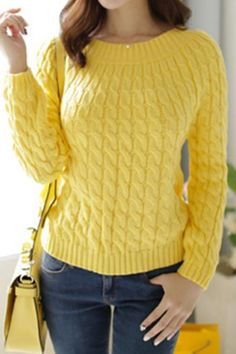 Retro Style Jewel Neck Long Sleeve Cable-Knit Sweater For Women