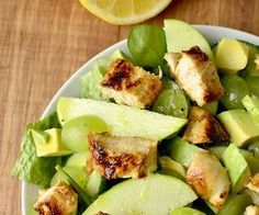 Spinach Chicken Salad with Cucumber, Avocado, Apples & Grapes