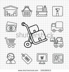 White Series   Hand drawn Delivery,Shopping icon set by Ziven, via Shutterstock Shop Icon, Icon Set, Daily Bullet Journal, Whimsical, How To Draw Hands, Royalty Free Stock Photos, Doodles, Hand Drawn, Delivery