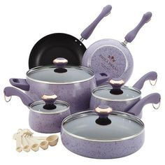 Paula Deen 15 pc Lavender Cookware Set in Speckled Purple...I have this set!
