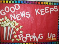 Older classroom - find a good news item on a reputable online source - centered around a theme each week, maybe? Popcorn Theme Classroom, Circus Classroom, Stars Classroom, Classroom Bulletin Boards, Future Classroom, Classroom Themes, School Classroom, Classroom Organization, Popcorn Bulletin Boards