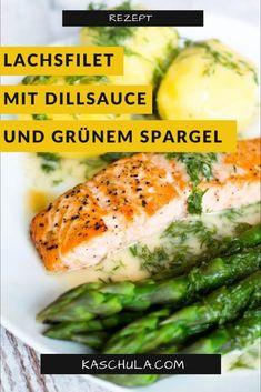 Heute habe ich für euch das #Rezept #Lachsfilet mit #Dillsauce, #Kartoffeln und grünem #Spargel. Es isteine leckere Idee zum #Mittagessen. Außerhalb der #Spargelsaison kann man auch sehr gut #Brokkoli oder #Bohnen verwenden. Viel Spaß beim #kochen und lasst es euch schmecken! #grünerspargel #Rezepte #Recipe #backen #Abendessen #fisch #lachs #spargelzeit #food #yummy #lecker Fresh Rolls, Ethnic Recipes, Food, Eat Lunch, Food Dinners, Wrap Recipes, Potato, Essen, Meals