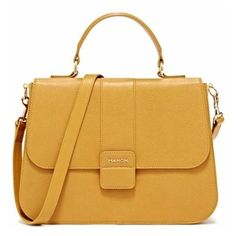 Mahon Protagonista Golden Yellow Satchel Bag ($3,118) ❤ liked on Polyvore featuring bags, handbags, golden yellow, satchel handbags, brown purse, yellow handbags, brown satchel handbag and leather satchel handbags