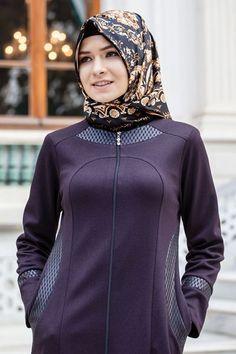 resm Deri Detaylı Ferace Modeli Sedanur Collection 1171-Mor Muslim Fashion, Hijab Fashion, Modest Workout Clothes, The Dress, High Neck Dress, Arabic Dress, Dress Codes, Bohemian Style, Blouses For Women