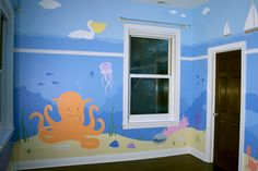 Don't love this but it's interesting Underwater Bedroom, Ocean Bedroom, Sea Nursery, Sea Murals, Ocean Mural, Big Girl Rooms, Boy Room, Kids Room, Princess Mural