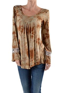 TPARTY Vintage Brown Tie Dye Crochet 70S Long Bell Sleeve New Top Small Brown -- Check this awesome product by going to the link at the image.