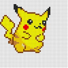 Pikachu bead pattern, discovered whilst searching for geeky crafts. I bet you could do it as a collage if you didn't have beads, or even as a cross-stitch if you have thread. Kandi Patterns, Pearler Bead Patterns, Perler Patterns, Beading Patterns, Pyssla Pokemon, Pokemon Perler Beads, Pikachu Pikachu, Beaded Cross Stitch, Cross Stitch Patterns